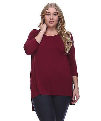 09f186f8516 Plus Size Soild Rayon Jersey Piko Top with Slit Sides – ShopTzia