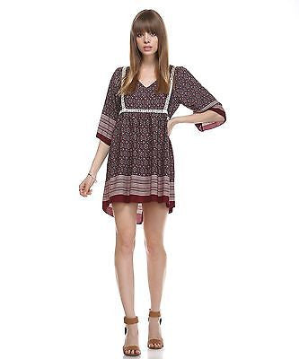 Women's Burgundy High Low Hem Crochet Lace...