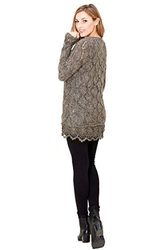 Orange Creek Women's Crochet Lace Hem Detail...