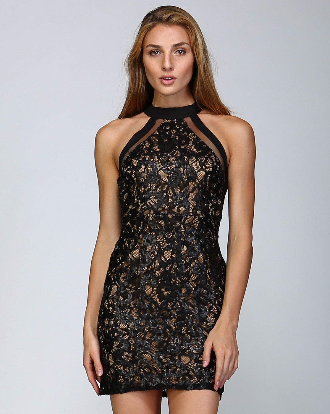 5f3c48aef38b Lace Sequin High Neck Fitted Sexy Little Black Dress – ShopTzia