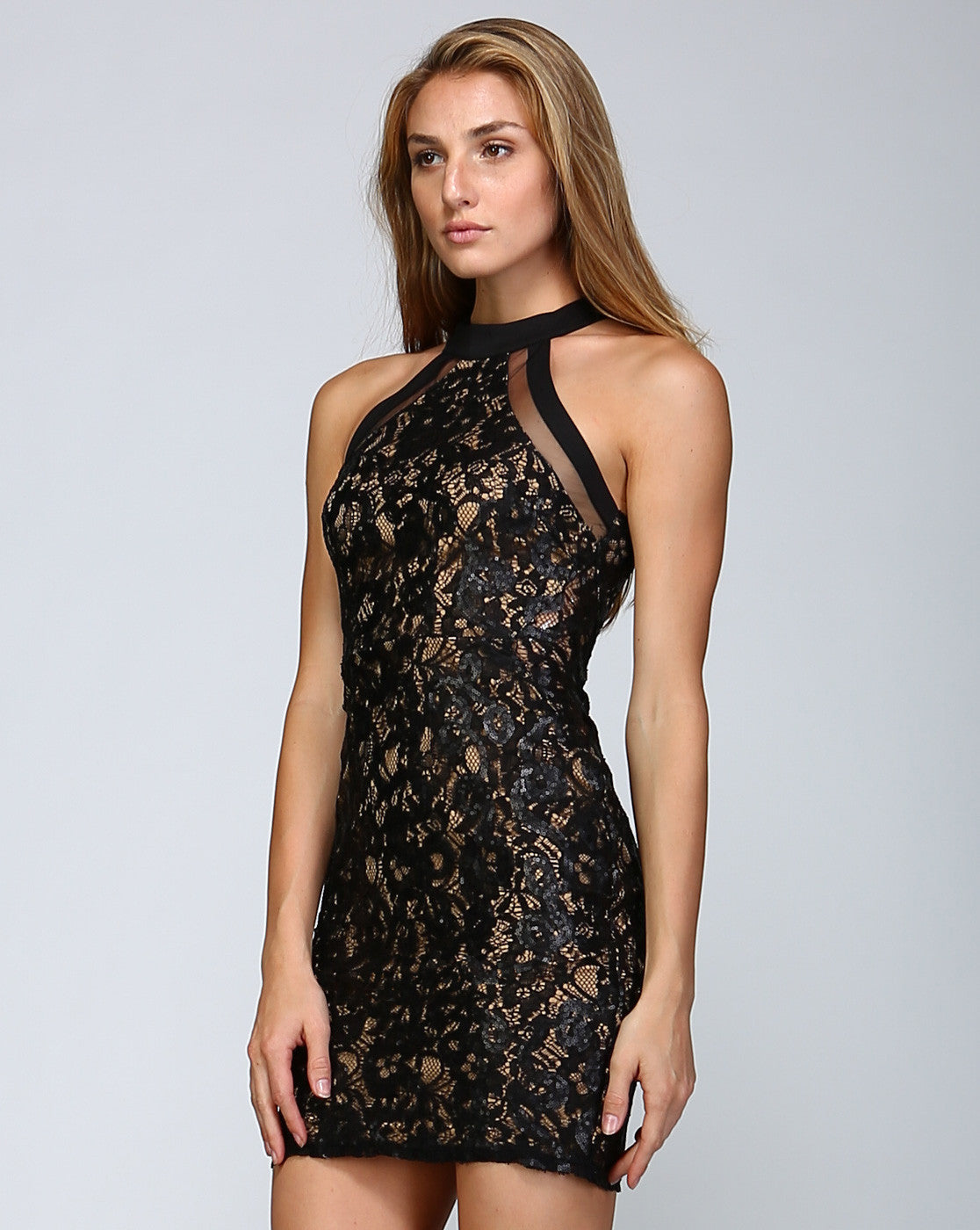 Lace Sequin High Neck Fitted Sexy Little Black Dress