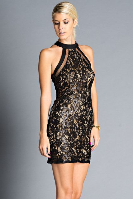Lace Sequin High Neck Fitted Sexy Little Black Dress Shoptzia