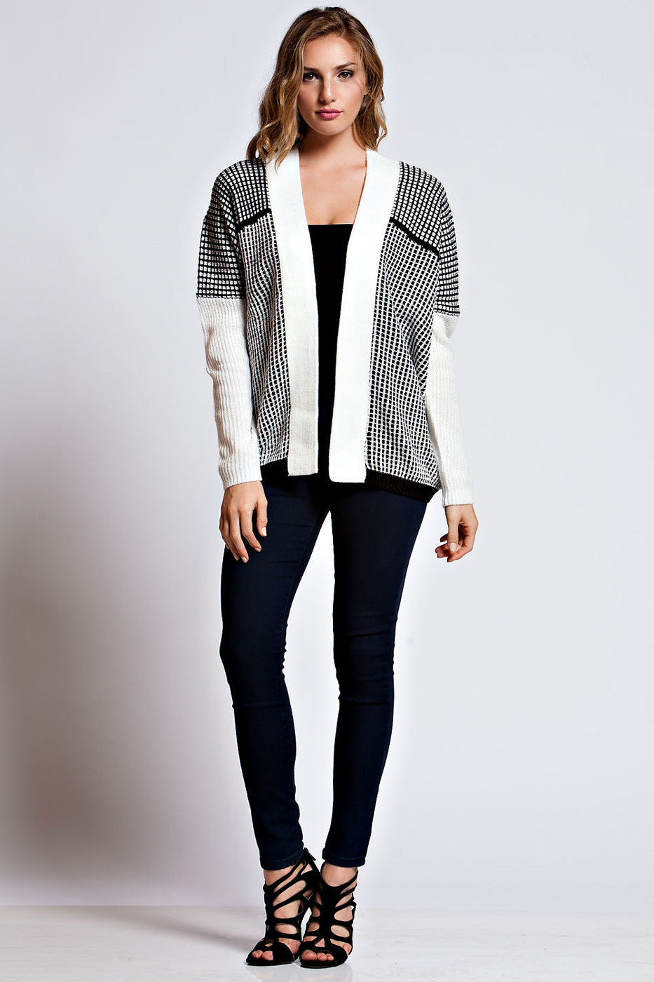 Open Front Long Sleeve Cardigan With Square Two Tone Knit Pattern
