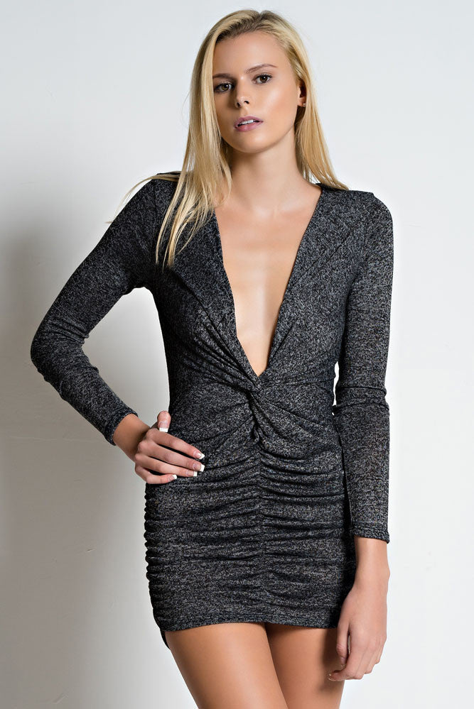 ae437083a1f Cinched Waist Fitted Long Sleeve Two Tone Sexy Mini Dress