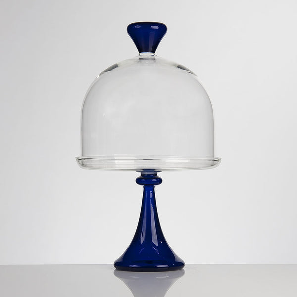 ELEMENTAL Cake Stand and Dome Medium Blue