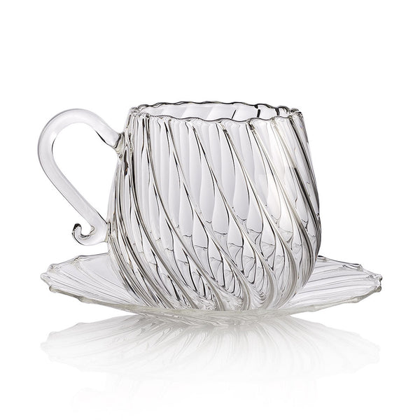 ARABESQUE Classic Teacup and Saucer Clear (set of 2)