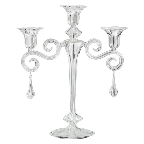 CARMEN 3 Candles Candelabra with Spiral Arms