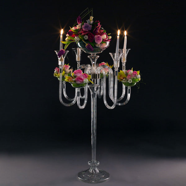CARMEN 8 Candles and Vase Event Candelabra Detachable