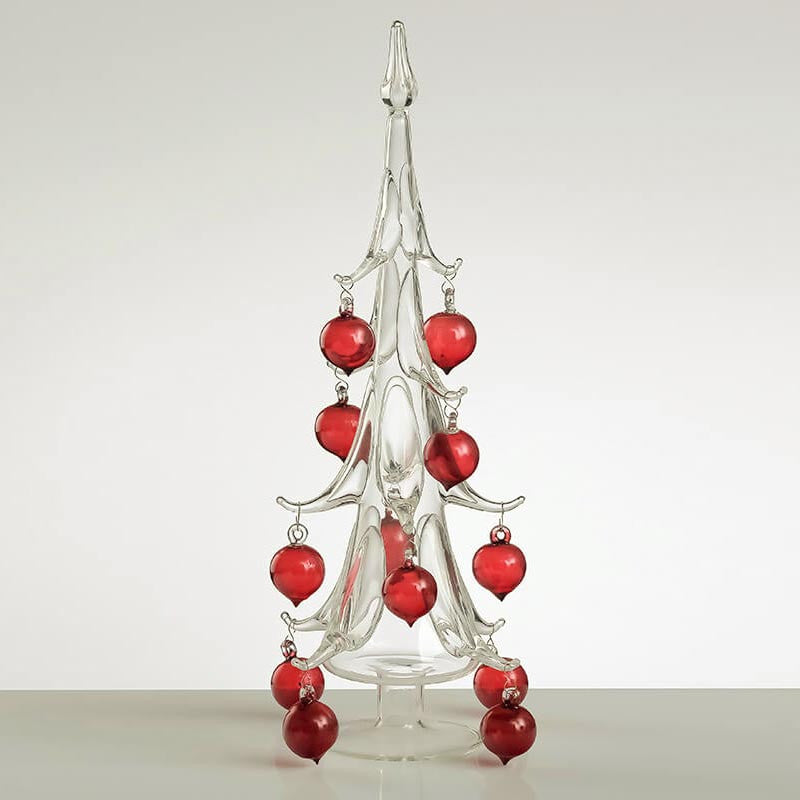 SPARKLE Glass Christmas Tree with Red Ornaments