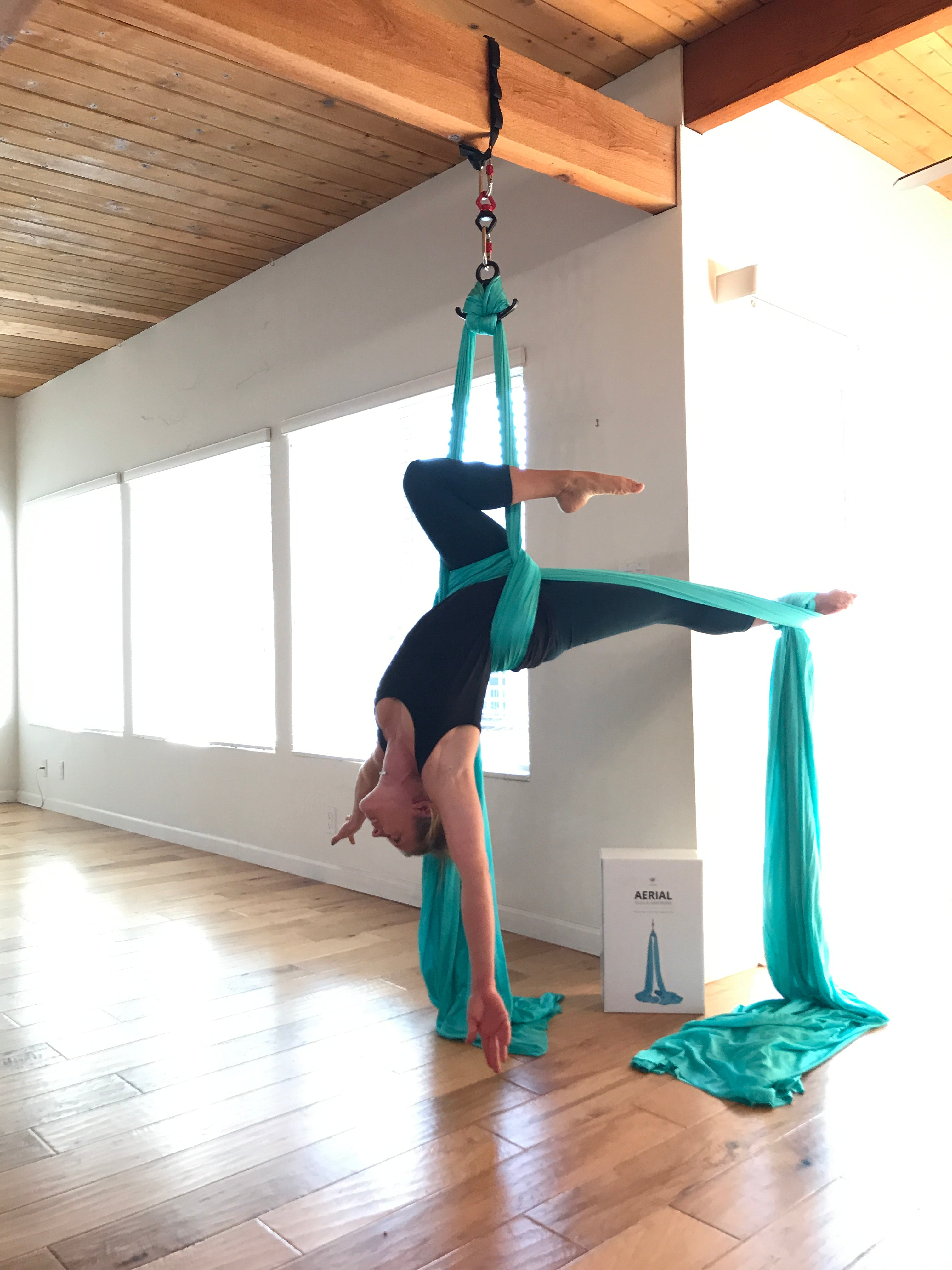 Hanging Aerial Silks from an exposed beam at home