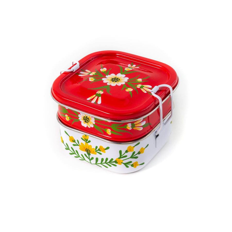 Stacked Tiffin - Red and White Floral