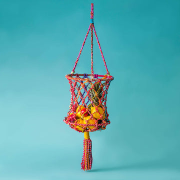 Macrame Hanging Fruit Basket - Upcycled Sari