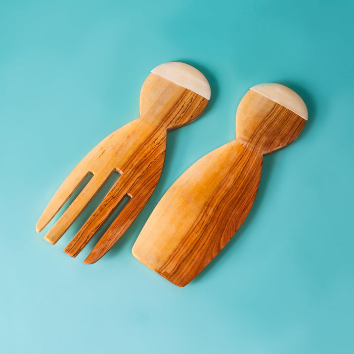 Salad Grabbers - Wood & Bone Inlay