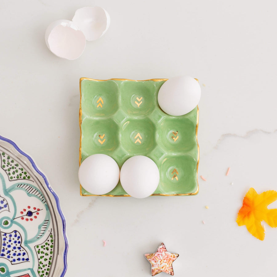 Ceramic Egg Crate - Pear & Gold
