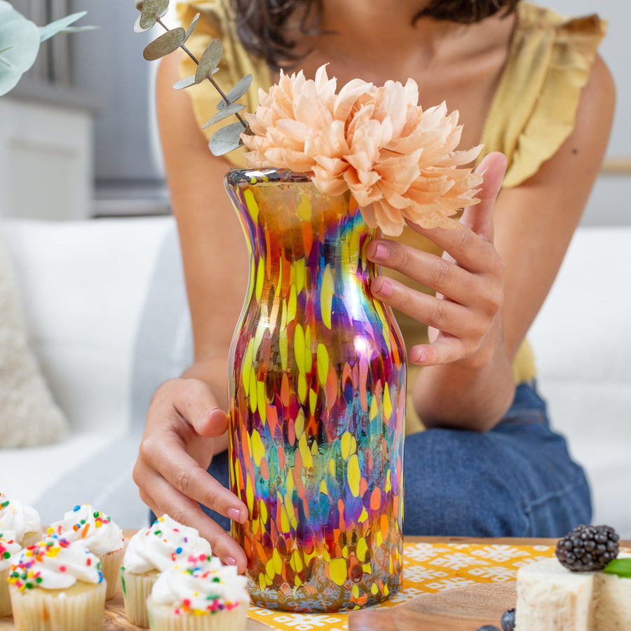 Handblown Handless Glass Pitcher/Vase - Confetti