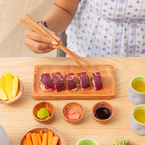 Handcarved Neem Wood Sushi Set