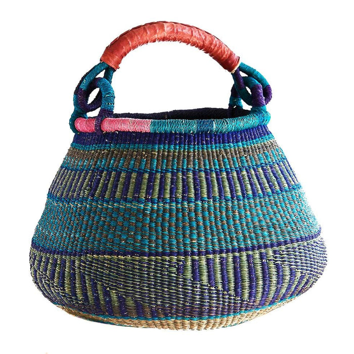 Handwoven Teardrop Basket - Assorted Blue