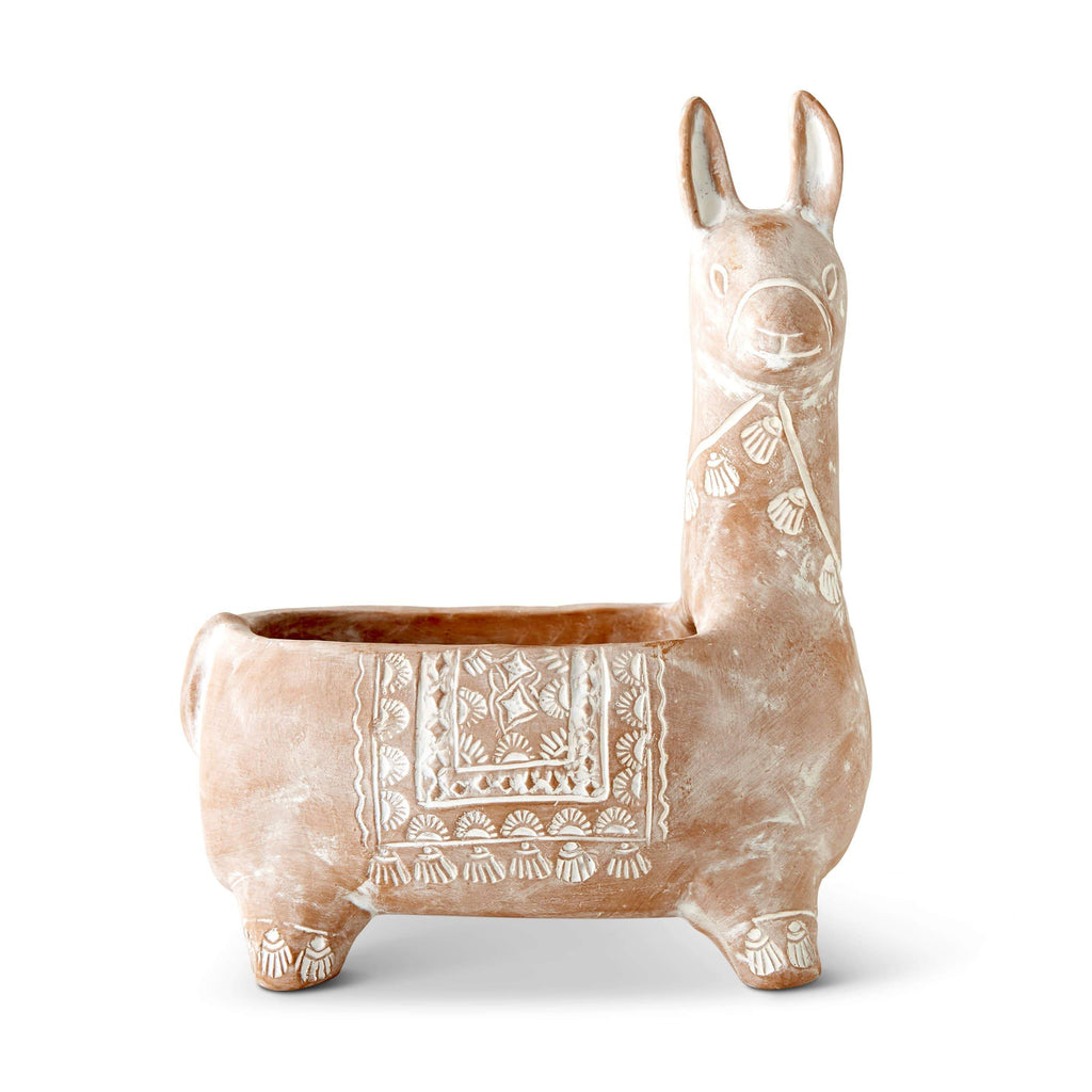 Whitewashed Terracotta Llama Planter