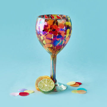 Tall Handblown Wine Glass - Confetti