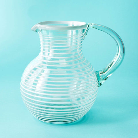 Large Iced Tea Pitcher - White Stripe