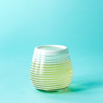 Stemless Handblown Wine Glass - White Stripe