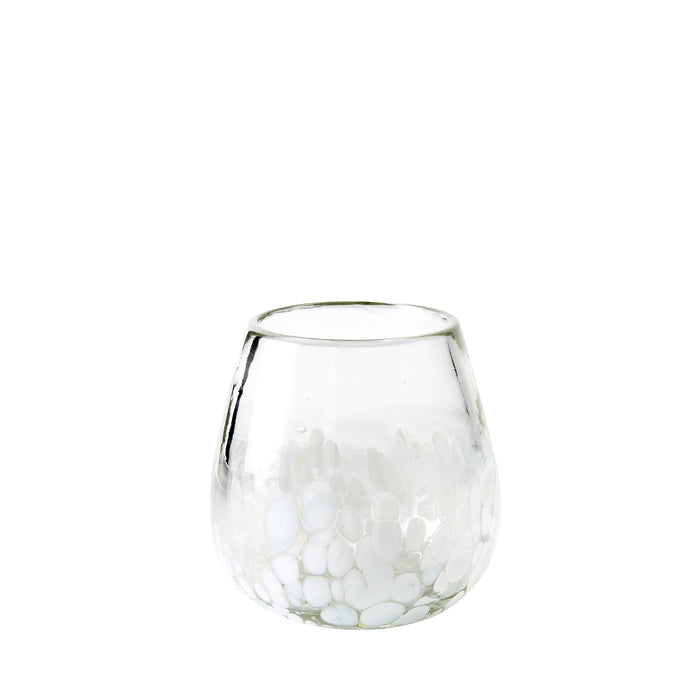 Stemless Handblown Wine Glass - White Dot