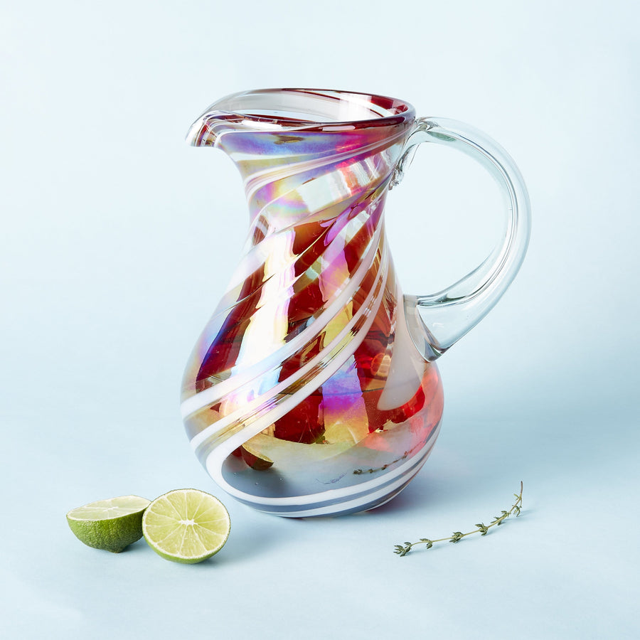 Slim Iced Tea Pitcher - Tropical Swirl