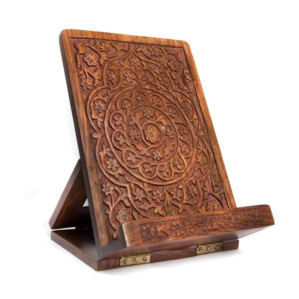 Carved Rosewood Tablet and Book Easel
