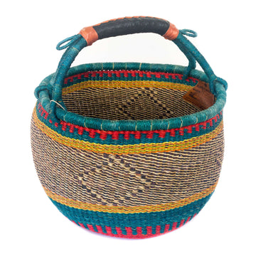 Handwoven African Market Basket - Assorted Blue