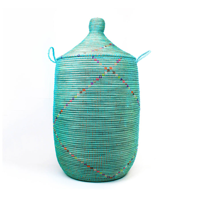 Extra Large Lidded Basket - Aqua Rainbow