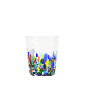 Short Handblown Glass Tumbler - Colorful