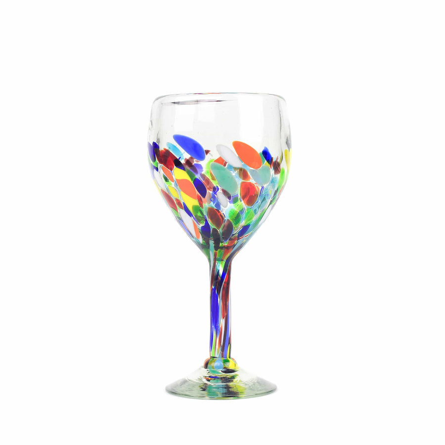 Tall Handblown Wine Glass - Colorful