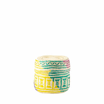 Small Palm Leaf Handwoven Basket - Colorful