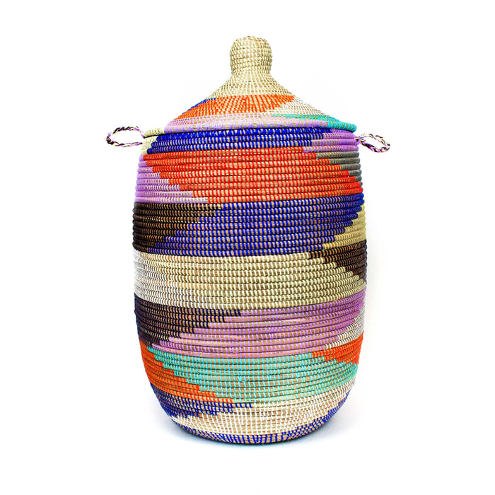 Large Lidded Basket - Diagonal Colorblock