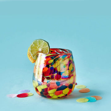 Stemless Handblown Glass Tumbler - Confetti