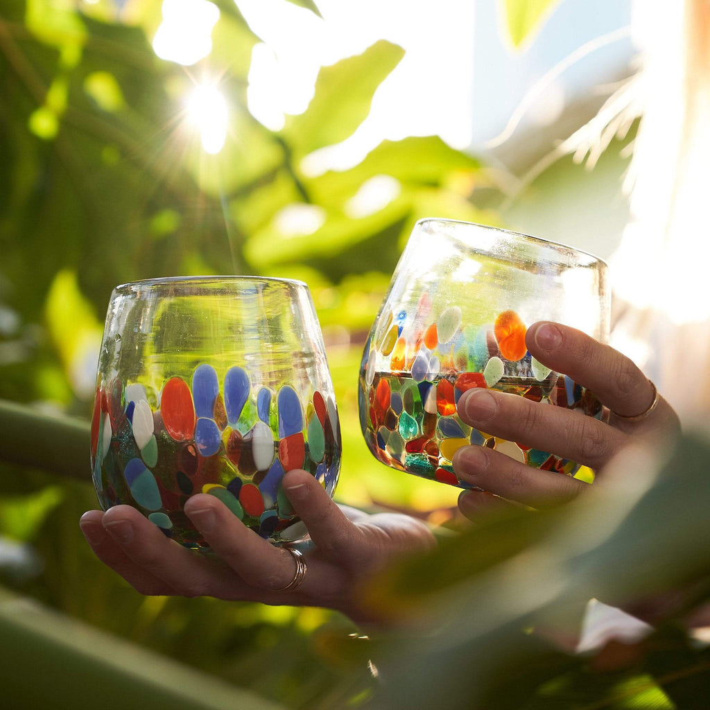 Handblown Stemless Wine Glass - Colorful