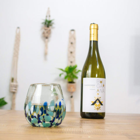 Stemless Handblown Wine Glass - Blue Dot