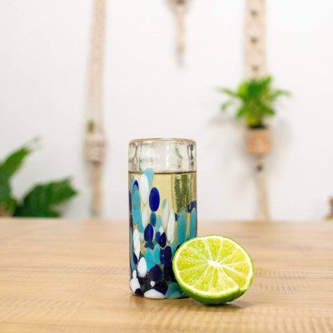 Tall Shot Glass - Blue Dot