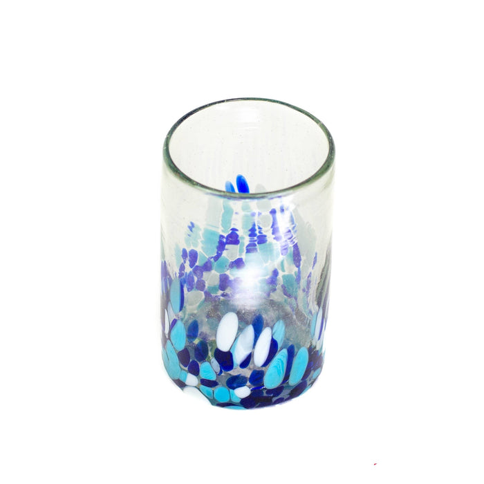 Tall Handblown Water Glass - Blue Dot