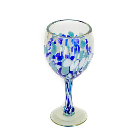 Tall Handblown Wine Glass - Blue Dot