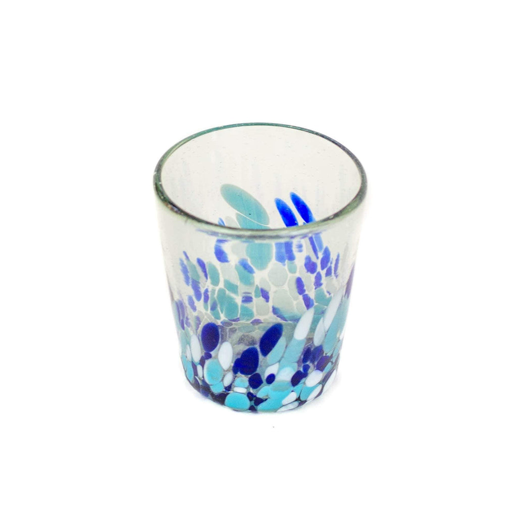 Short Handblown Glass Tumbler - Blue Dot