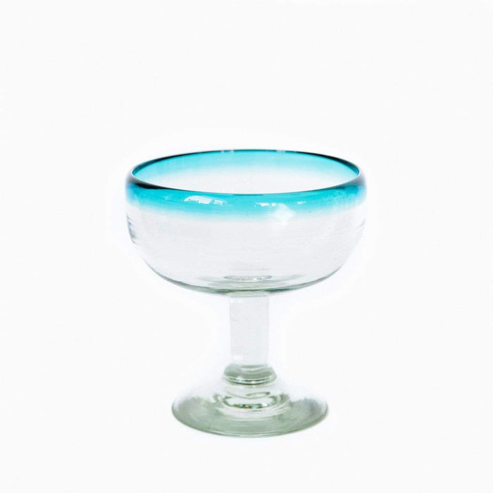 Coupe Cocktail Glass - Turquoise Rim