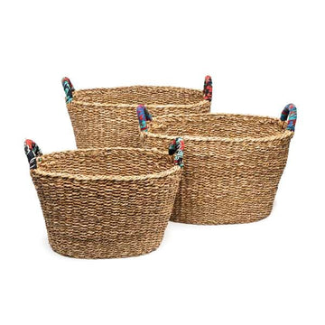 Large Chindi Handle Baskets - Set of 3
