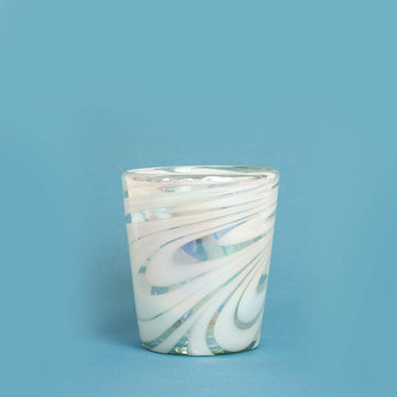 Short Handblown Glass Tumbler - Iridescent Swirl