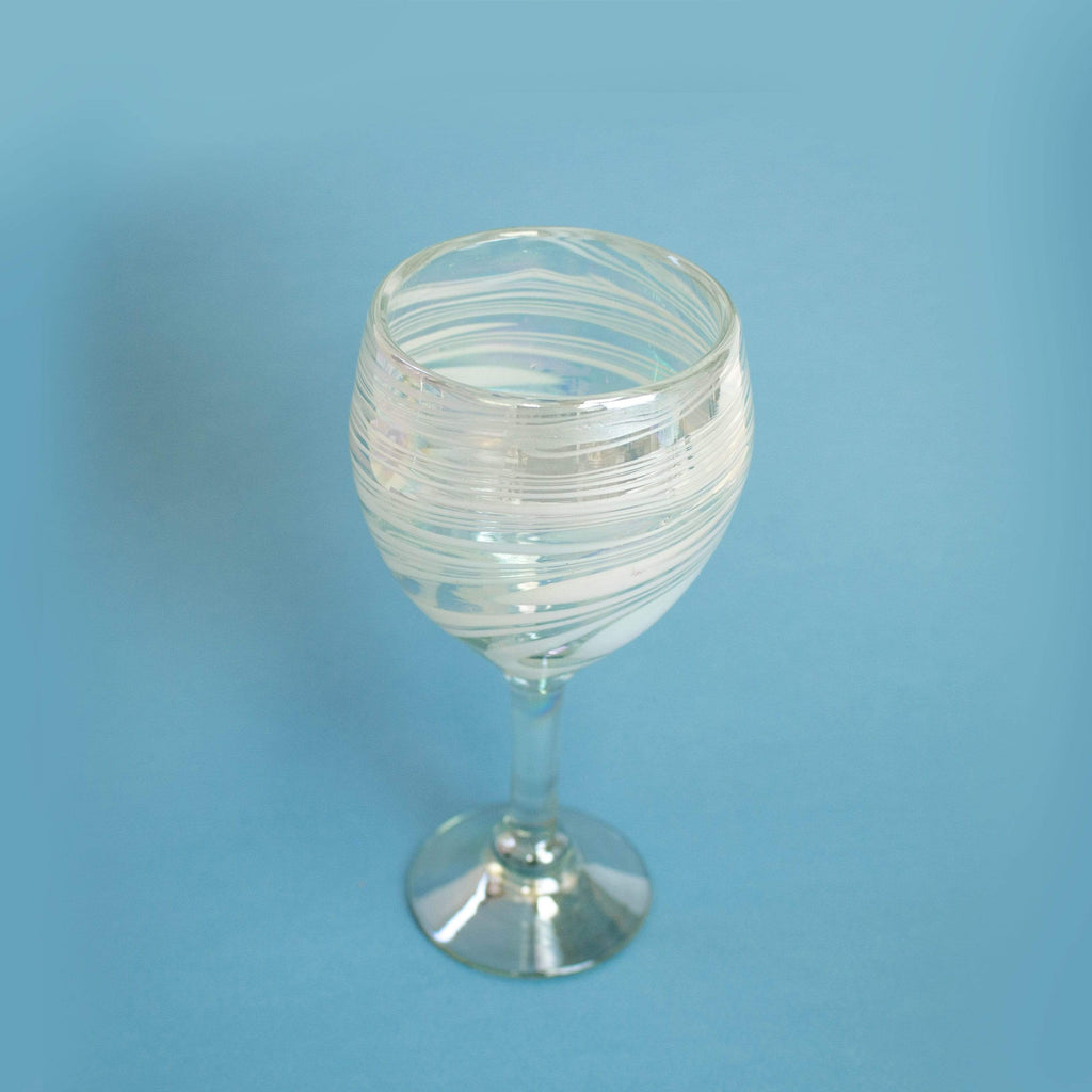 Tall Handblown Wine Glass - Iridescent Swirl