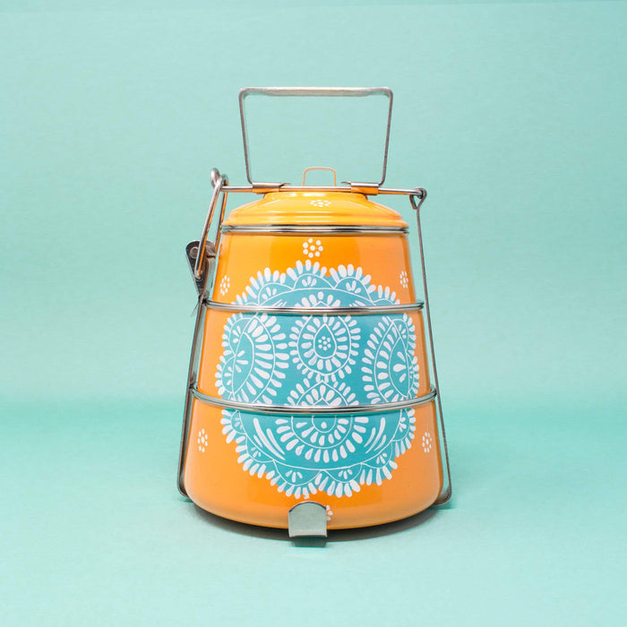 Stacked Handpainted Tiffin - Orange with Teal