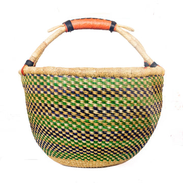 Handwoven African Market Basket - Assorted Greens Set of 2