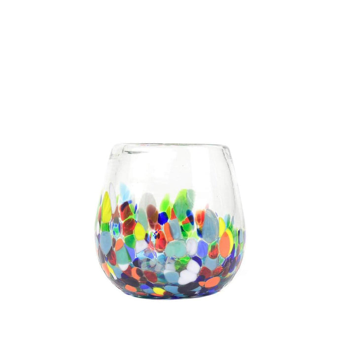 Set of 4: Stemless Handblown Wine Glass - Colorful