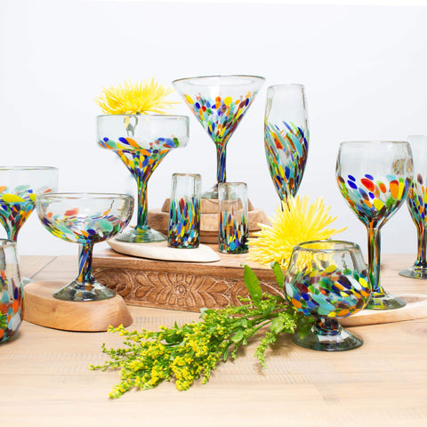 Tall Handblown Glass - Colorful