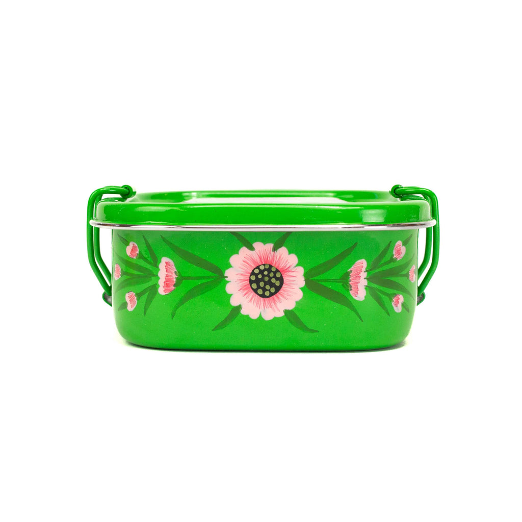 Square Tiffin - Green Floral